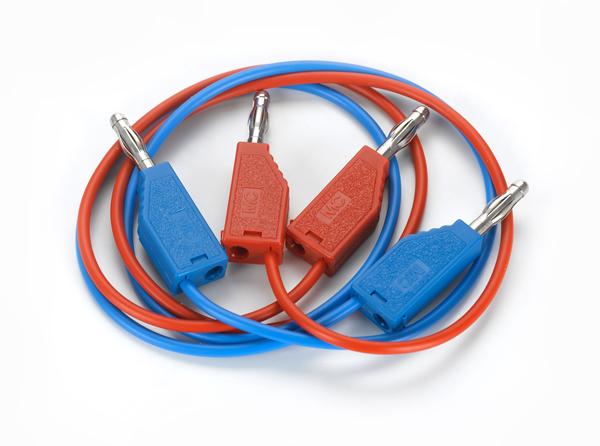 Experimentierkabel 19 A, 50 cm, rot/blau, Paar