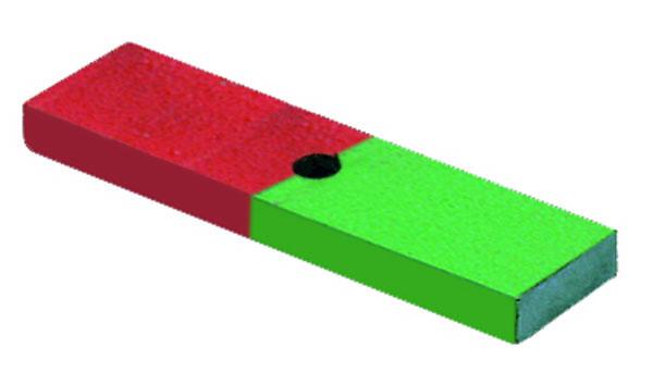 Magnet mit Bohrung, Pole markiert