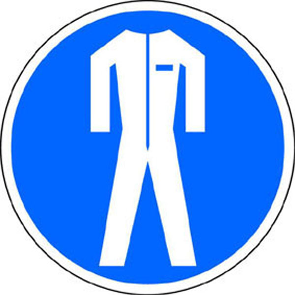 Gebotsschild: Schutzkleidung tragen