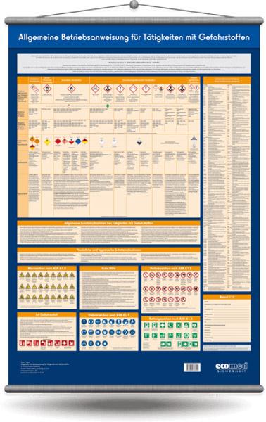 Wandtafel: Allgemeine Betriebsanweisung für Tätigkeiten mit Gefahrstoffen
