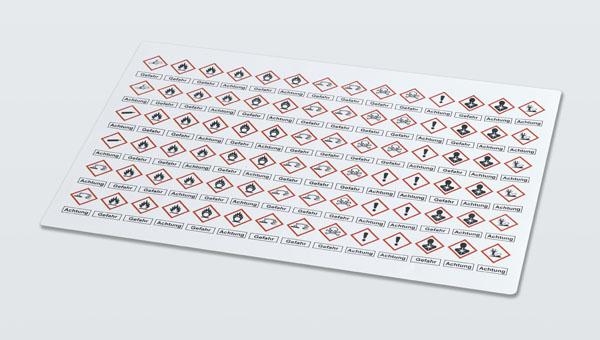 Etikettenbogen Warnhinweise nach GHS