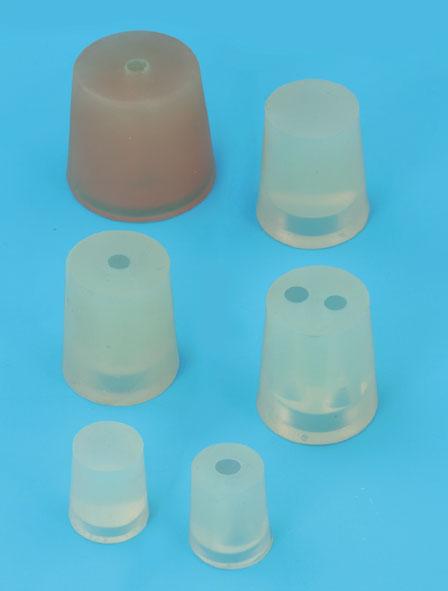 Silikonstopfen 1 Loch 7 mm, 16...21 mm Ø