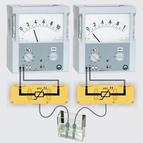 Temperaturabhängige Widerstände - Aufbau mit Leiterbausteinen und Brückensteckern