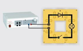 Si-Diode im Gleichstromkreis - Aufbau mit Leiterbausteinen