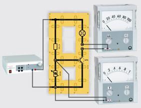 Transistor als elektronischer Schalter - Aufbau mit Leiterbausteinen