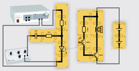 Signalübertragung mit Lichtwellenleiter - Aufbau mit einstufigem Transistorverstärker