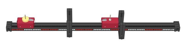 Unelastischer Stoß zwischen fahrenden und ruhenden Wagen (m1>m2) - Digital