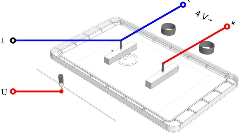 Äquipotentiallinien zwischen zwei gleich geformten Elektroden - Digital