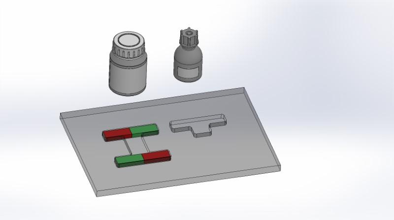 Darstellung eines Magnetfeldes mit Eisenpulver