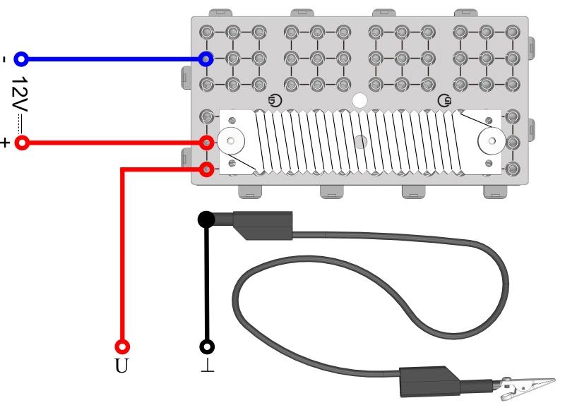 Spannungsverteilung an einem stromdurchflossenen Draht (Potentiometer) - Digital