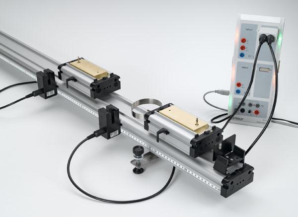 Energie und Impuls beim elastischen und inelastischen Stoß auf der Rollenfahrbahn - Messung mit zwei Gabellichtschranken und CASSY